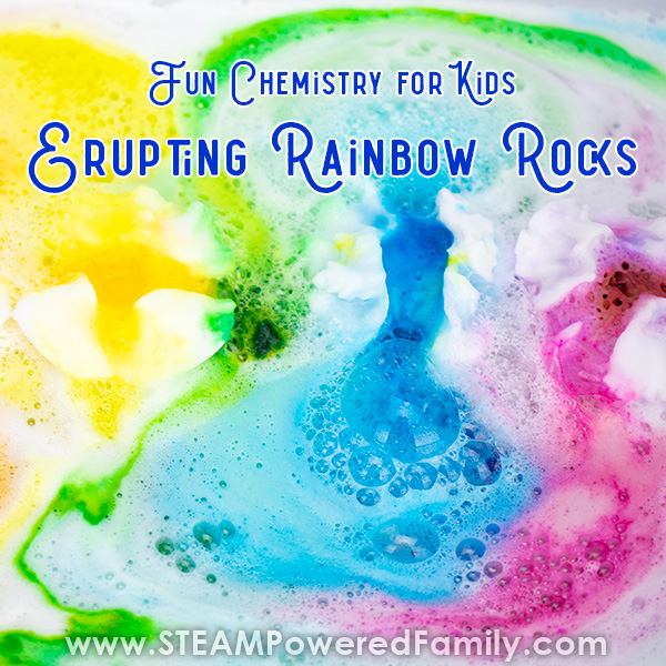 A colourful close up of a chemical reaction resulting in colours running through foamy bubbly channels. The words Fun Chemistry for Kids Erupting Rainbow Rocks is written across the top.