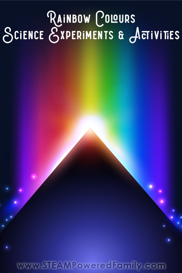 A dark background on which a dark prism sits with rainbow colours streaming out of the top. Overlay text at the top read Rainbow science experiments and activities