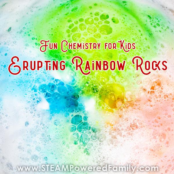 Erupting Rainbow Rocks Chemistry for Kids