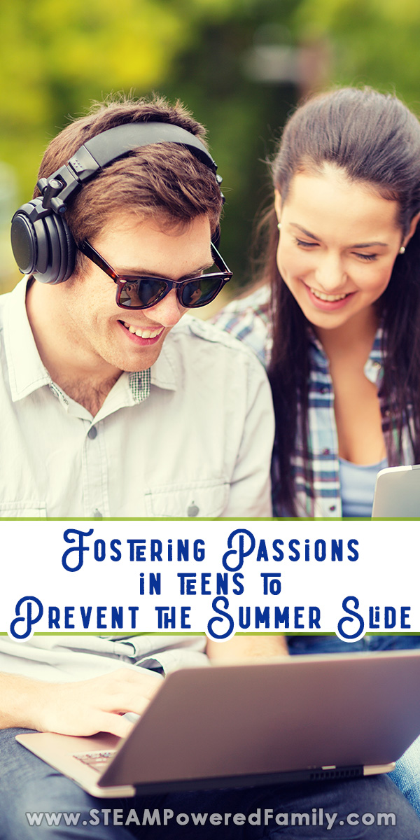 A male and female teen are using computers and he is wearing a headset as they smile and work on a project together. Overlay text says Fostering Passions in Teens to Prevent the Summer Slide
