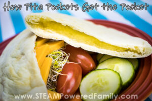 On a blue and white striped tablecloth sits a red plate with cucumbers, tomatoes and a cut in half pita pocket. One half is stuffed with cheese and sprouts, the other is open to show the pocket. Overlay text says How Do Pita Pockets Get The Pocket