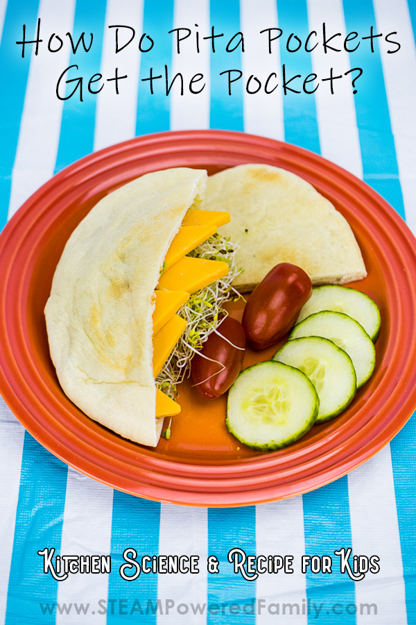 On a blue striped table cloth sits and orange plate with cucumbers, cherry tomatoes and a pita pocket cut in half. One side is stuffed with cheese and sprouts. Overlay text says How Do Pita Pockets Get their Pockets? Kitchen Science and Recipe for Kids