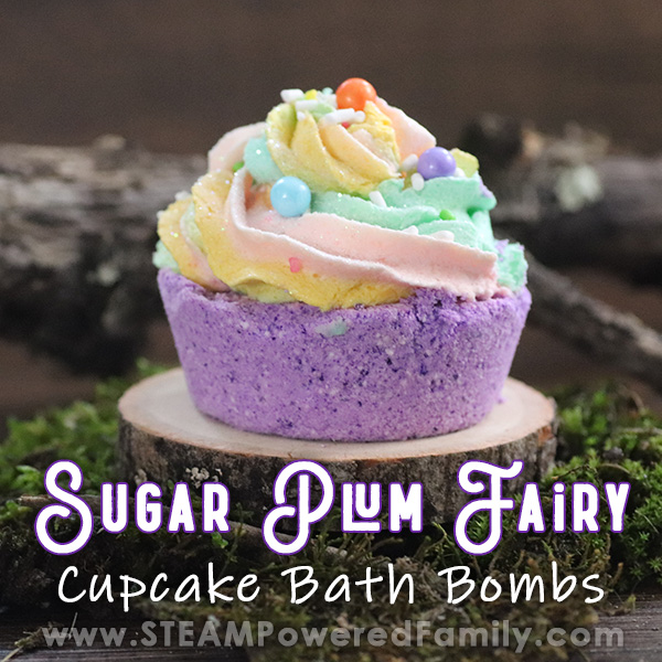 In a forest like setting with dark wood background, branches and moss, sits a slice of of a tree. On the slice is a purple cupcake bath bomb with multi-colour soap icing topper. Overlay words say Sugar Plum Fairy Cupcake Bath Bomb