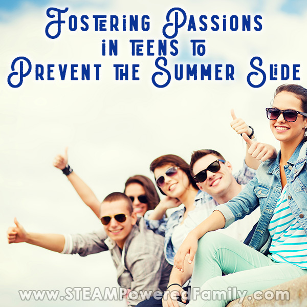 A group of 5 teens are outside on a summer day smiling and giving a thumbs up. Overlay text says Fostering Passions in teens to Prevent the Summer Slide