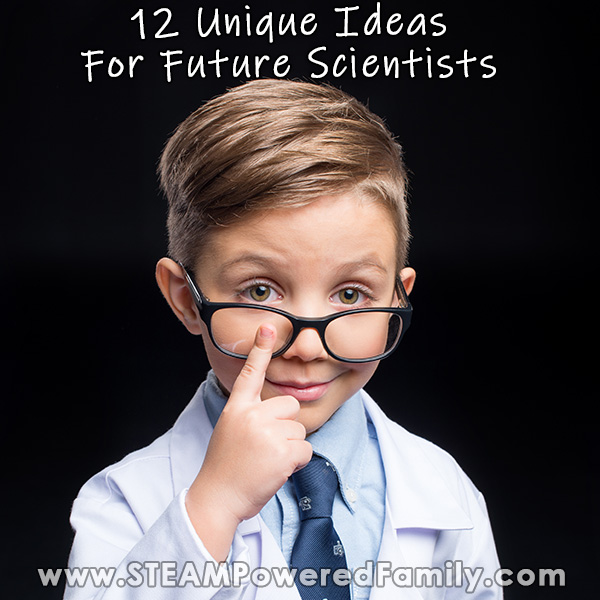 A young boy pushes up his glasses while wearing a lab coat and tie. Overlay text says 12 unique ideas for future scientists