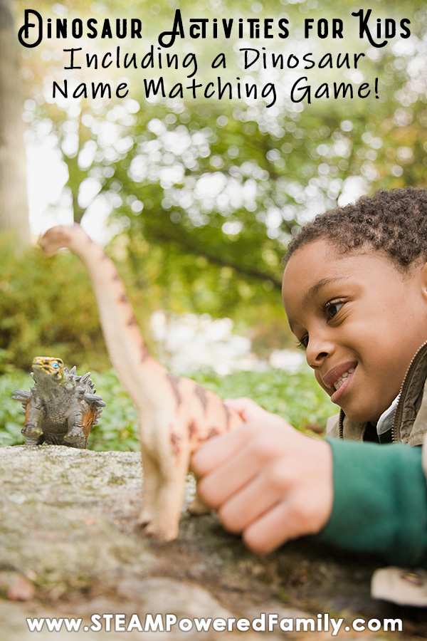 A young boys is playing outside in a forest with some dinosaur toys. Overlay text says Dinosaur Activities for Kids with Dinosaur Name Matching Game.