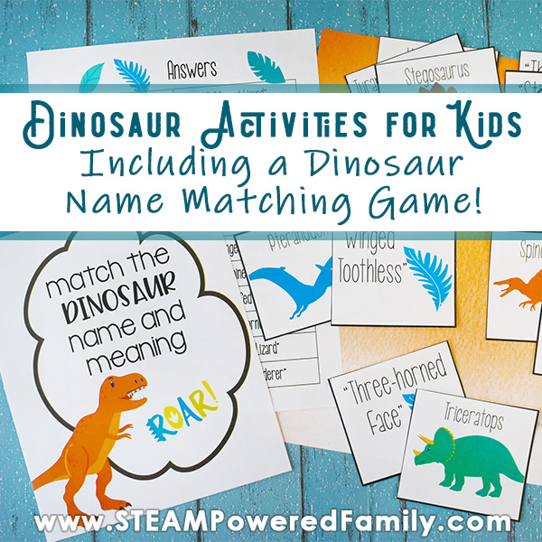 On a blue wood slate table lays a game named Dinosaur Name Matching Game with some dinosaur figures