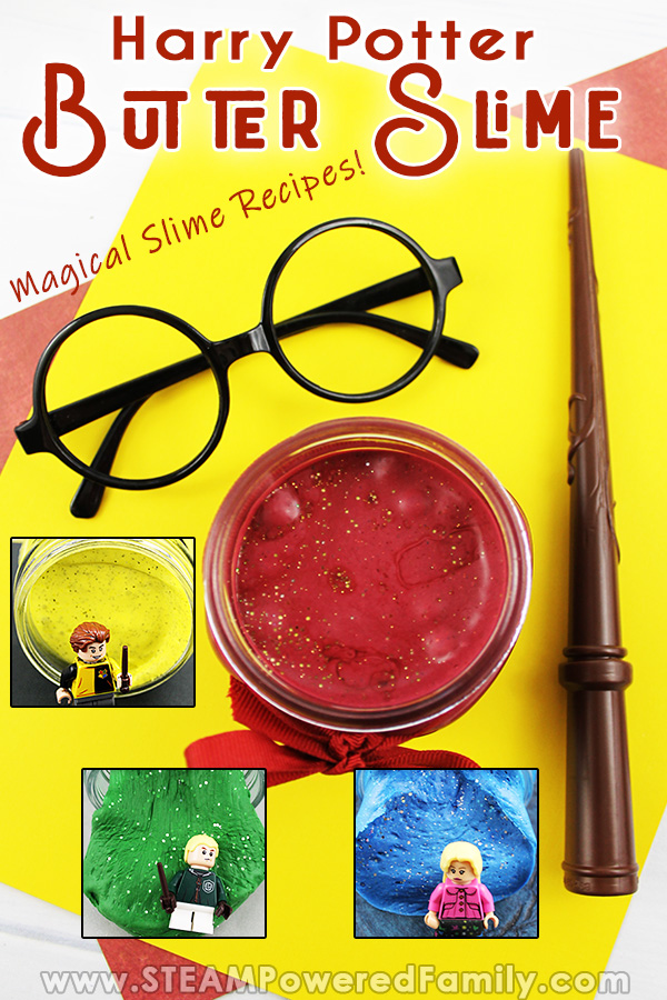 Harry Potter glasses and wand lay on a yellow table with a jar of red Gryffindor butter slime. Small pictures of Hufflepuff, Slytherin and Ravenclaw Butter Slime are inlaid.