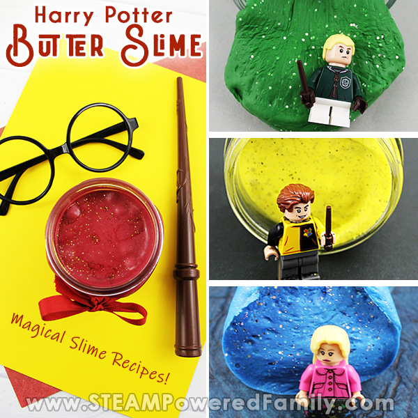 A collage of 4 butter slimes featuring each Hogwarts House from Harry Potter Overlay text says Harry Potter Butter Slime