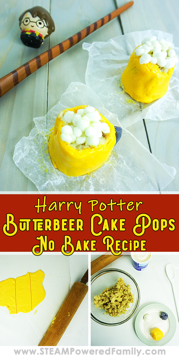 On a white background sits 2 cake pops shaped like butterbeer mugs with yellow bodies, white fluffy topping and grey handles. A wand lays in the back. Overlay text says Harry Potter Butterbeer Cake Pops Below are pictures of the cake pops being made.