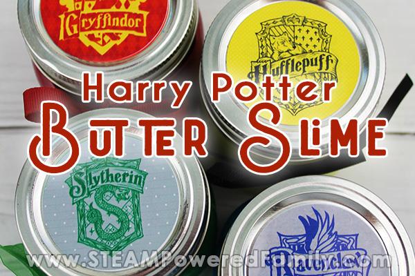 Harry Potter Hogwarts House Labels on Mason Jars Filled with Butter Slime