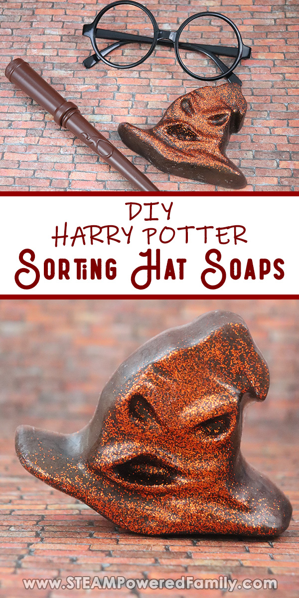 On a brick background sits round Harry Potter glasses, a wand and a glittery Sorting Hat soap. The bottom of the image shows a close up of the Sorting Hat soap. Overlay says DIY Harry Potter Sorting Hat Soaps