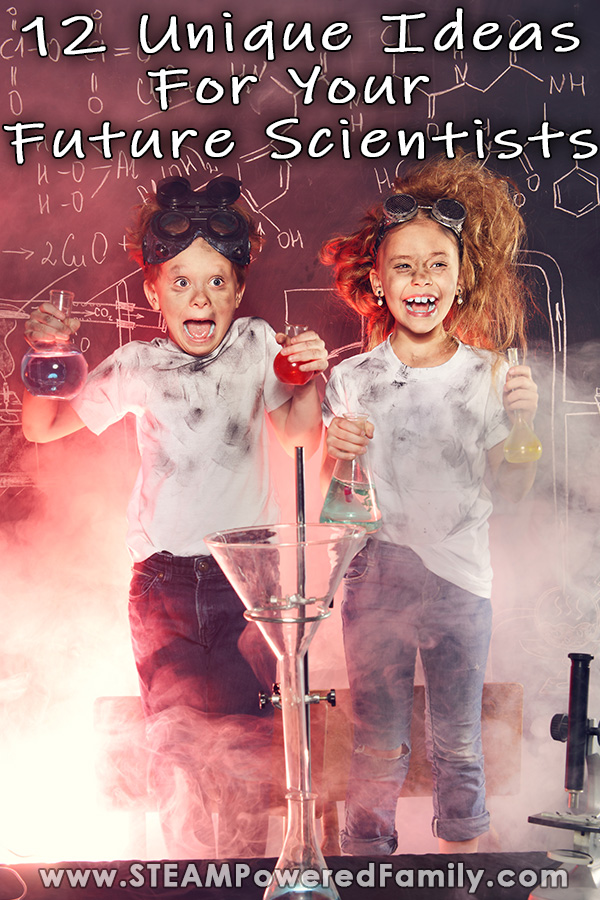 2 kids in a lab are jumping excitedly as they make a discovery in the lab. Overlay text says 12 unique ideas to inspire future scientists