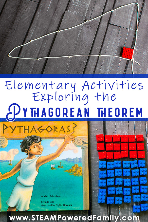 Pythagorean Theorem activities to prove the theory with string and Lego for elementary students using What's Your Angle Pythagoras?