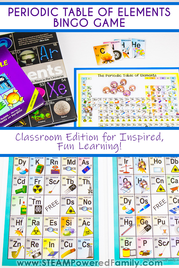 Periodic table of elements plus two books featuring the elements are featured at the top with a periodic table of elements Bingo game on the bottom. Overlay text says Periodic Table of Elements Bingo Game and Classroom Edition for Inspired, Fun Chemistry learning