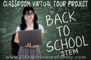 Student girl with a computer Back To School STEM, Classroom Virtual Tour