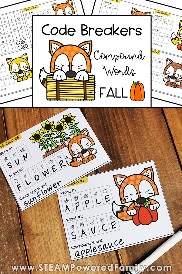 Fall Themed Compound Words Code Breakers Activity
