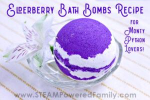 Purple and white bath bomb
