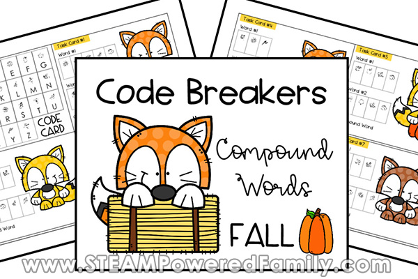 Code Breakers with Fall Themed Compound Words For Elementary