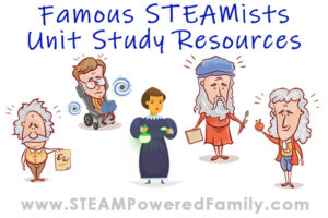 Cartoon images of famous scientists Einstein, da Vinci, Curie, Byron, Hawking, Newton. Vincent van Gogh. Overlay text says Famous STEAMists Unit Study