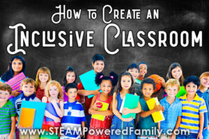 a diverse group of children gather and celebrate. Overlay reads How to Create an Inclusive Classroom