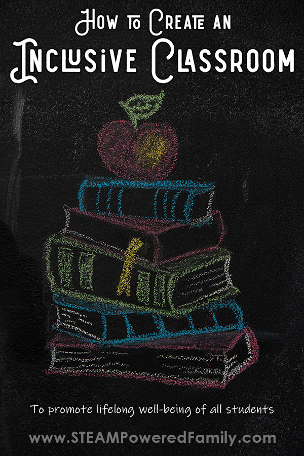 Chalkboard graphic of a book stack with an apple on top. Text reads How to Create an Inclusive Classroom