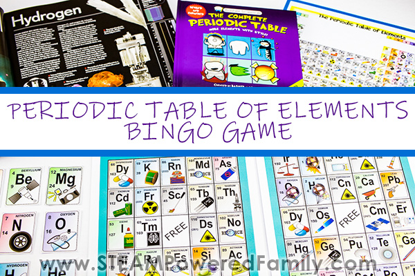 Periodic table of elements plus two books featuring the elements are featured at the top with a periodic table of elements Bingo game on the bottom. Overlay text says Periodic Table of Elements Bingo Game