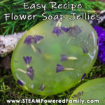 A homemade soap jelly with purple flowers sits on a bed of moss and spruce boughs. Overlay says Easy Recipe Flower Soap Jellies