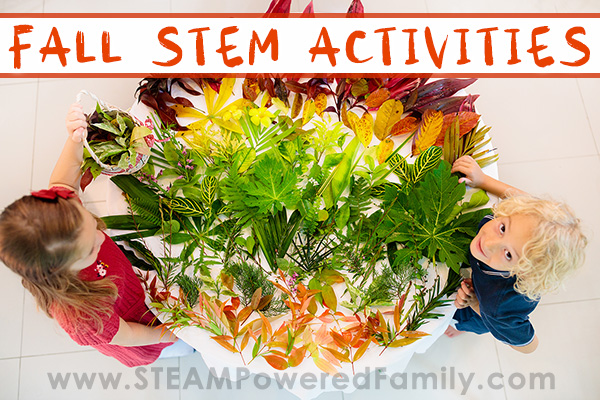 Two kids around a table full of colorful fall leaves preparing for a project. Overlay text Fall STEM Activities