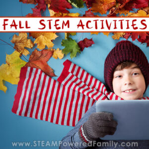 Book with scarf and mitts and toque surrounded by colorful fall leaves holding a tablet. Overlay text says Fall STEM Activities