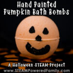 Hand painted pumpkin bath bomb Halloween STEAM Project