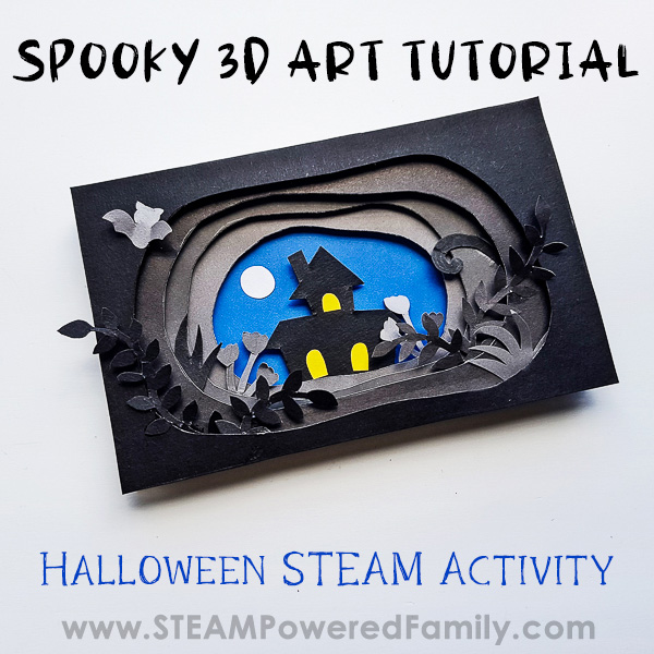 Halloween STEAM Activity 3D Art Spooky Halloween Scene Tutorial