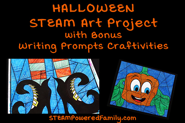 Halloween STEAM activity featuring Halloween Art and Math