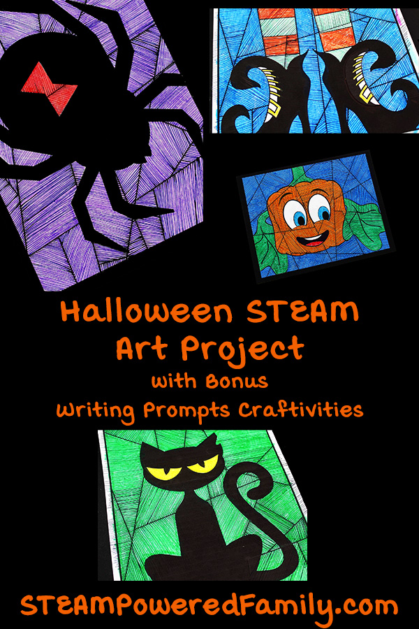 Halloween STEAM Art and Math Project with Bonus Writing Prompts Craft
