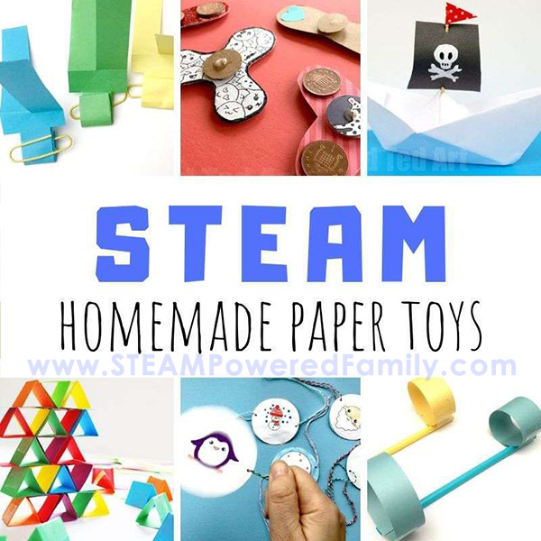 Learn how to make homemade paper toys STEAM projects for kids