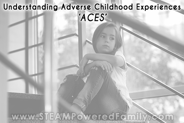 Upset child on stairs, understanding ACES, adverse childhood experiences