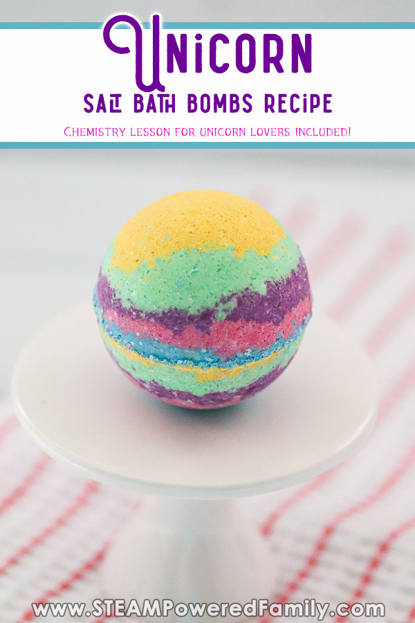 Unicorn Salt Bath Bombs Recipe and chemistry lesson for kids