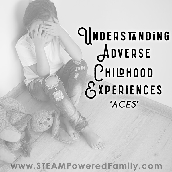 Distraught girl in the corner with stuffed bunny, overlay text says Understanding Adverse Childhood Experiences
