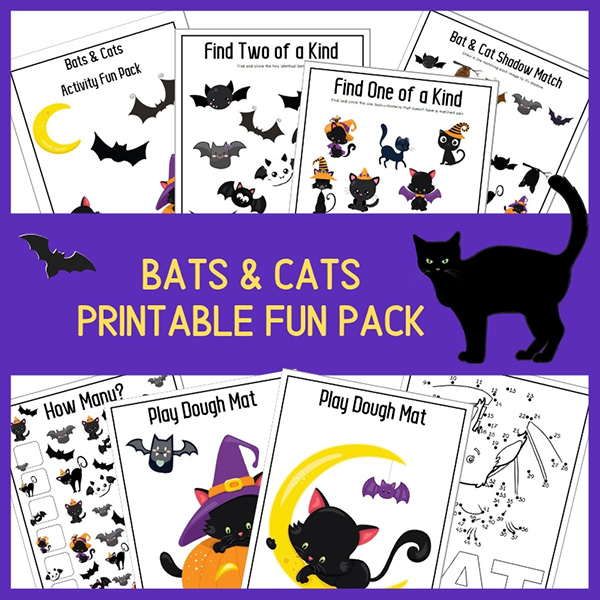 A printable pack of fun Halloween activities with a bat and cat theme