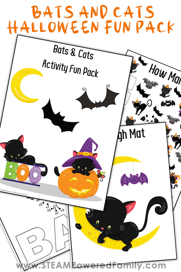 Bats and Cats printed Halloween activities for Kindergarten aged students