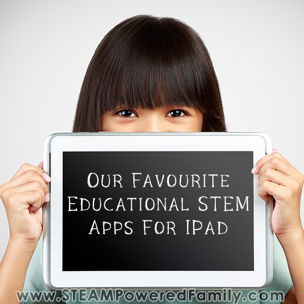 Girl holding tablet that says STEM Apps for IPad