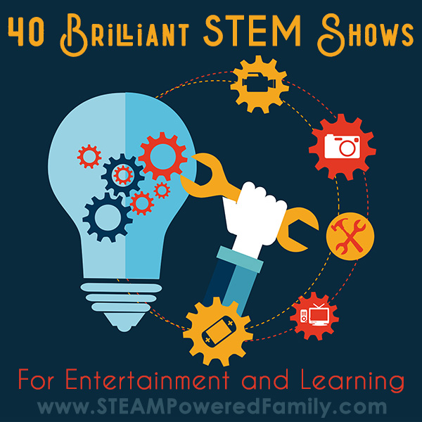 Light bulb with gears with text 40 Brilliant STEM Shows for entertainment and education
