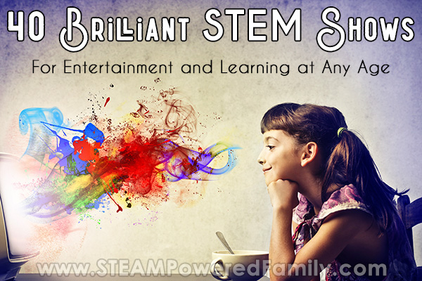 Enthralled girl watching a screen as colours come out of it. 40 Educational Videos and STEM Shows