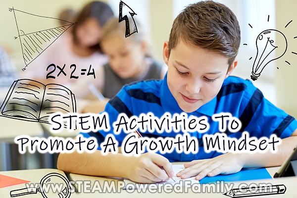 A boy doing STEM activities learning about the power of growth mindset
