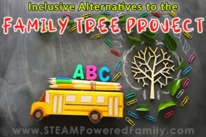 Tree and bus image promoting inclusive alternatives to the family tree project