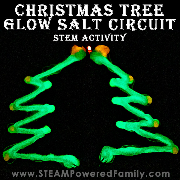 Christmas Tree STEM Activity - Glow Salt Circuit with multi-colour glow.