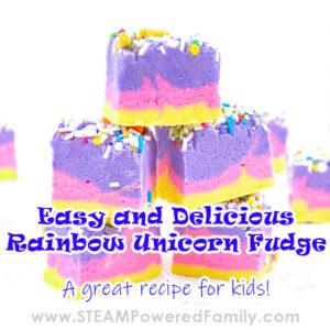 Easy, delicious and gorgeous rainbow unicorn fudge