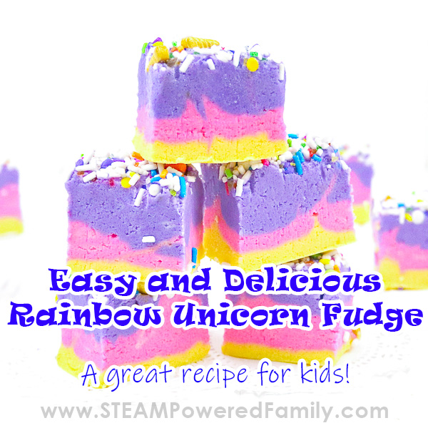 Easy, delicious and gorgeous rainbow unicorn fudge