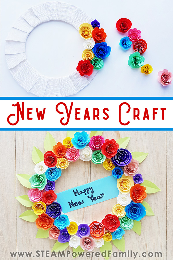 New Years Wreath Craft with Flowers