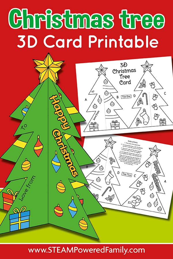Christmas Tree Card in 3D that Stands with free printable